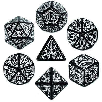 Black & White Polyhedral Steampunk Dice