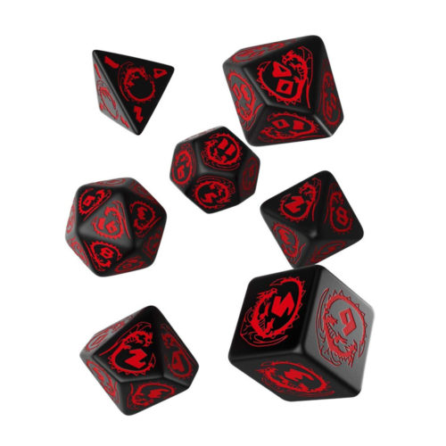 Carved Dragon Dice Set in Black and Red