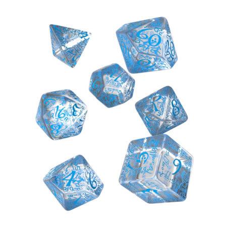 Carved Elvish Dice Set (Transparent and Blue)