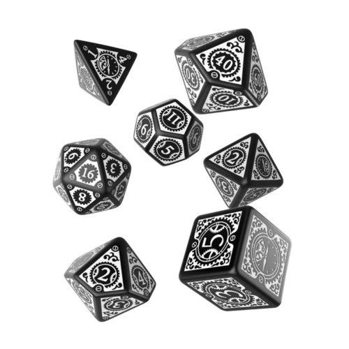 Black & White Polyhedral Steampunk Set of Dice