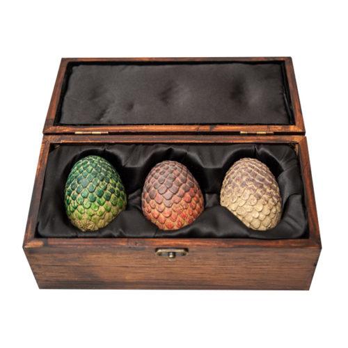 Game of Thrones Dragon Egg Prop Replica Set in Wooden Box