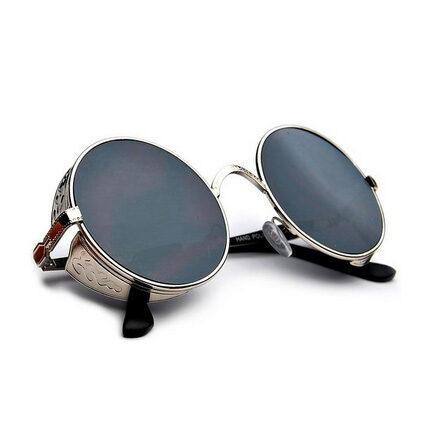 Full Mirrored Round Steampunk Sunglasses