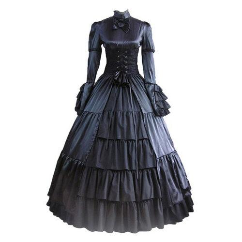 Cotton Black Gothic Victorian Dress