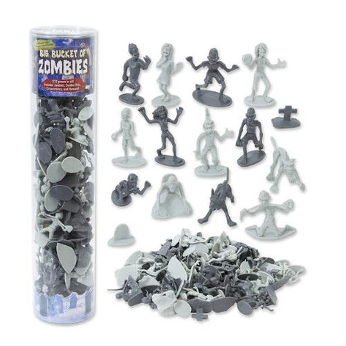 Big Bucket of 100 Zombie Action Figures (includes Pets, Gravestones, and Humans!)