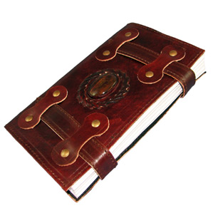 """Antique Leather Journal with Double Straps, Polished Stone, and Parchment Paper (5.5""""x9"""") - Templar Series By Viatori"""