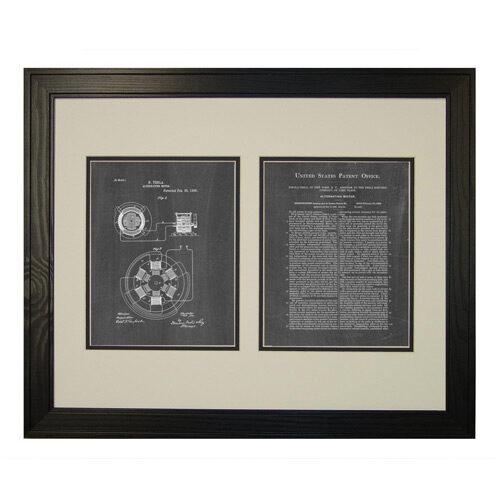 Tesla Alternating Motor Patent Art Chalkboard Print with Frame