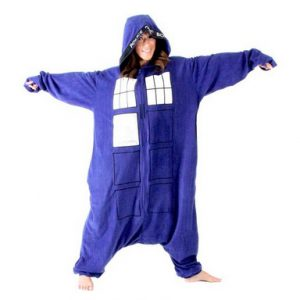 Doctor Who Police Booth Tardis Hooded Kigurumi One Piece Pajama Costume