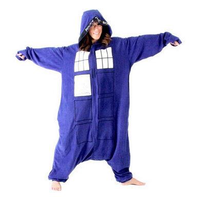 Doctor Who Police Booth Tardis Hooded Kigurumi One Piece Pajama Costume