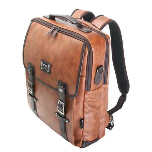 Faux-Leather Laptop Backpack