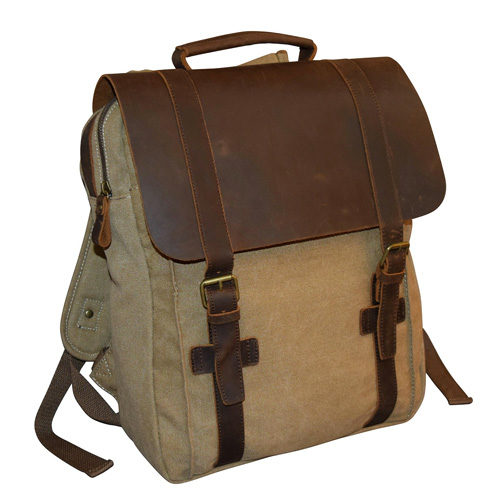 Canvas and Leather Laptop Backpack