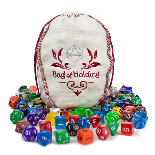 Wiz Dice Bag of Holding: 140 Polyhedral Dice in 20 Sets
