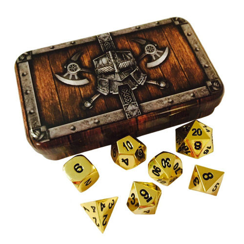 Solid Gold Dice Set with Chest