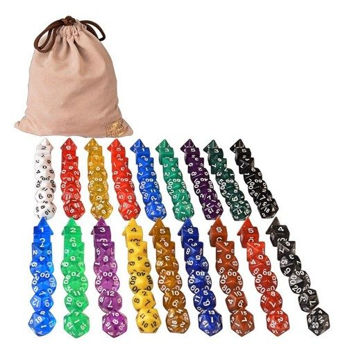 126 Polyhedral Dice - 18 Colors omplete Sets