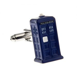 3D Tardis Metal Cufflinks Blue Police-Box Dr. Who
