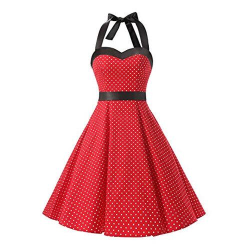 Vintage 1950s Rockabilly Polka Dots Audrey Dress
