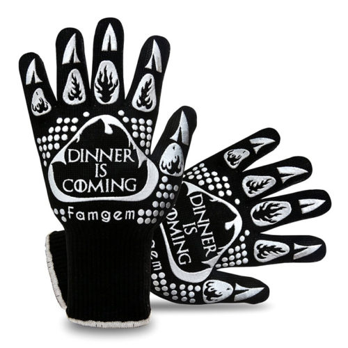 Grill Gloves Oven Mitts Kitchen - Famgem 932°F Extreme Heat Resistant