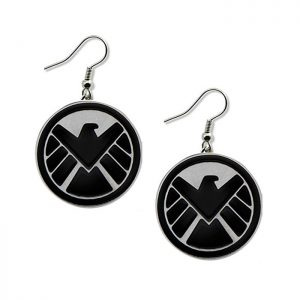 Marvel Agents of Shield Black and Silver Dangle Earrings