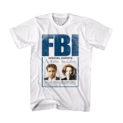 X-Files Men's X Mulder Scully Badge Graphic T-Shirt