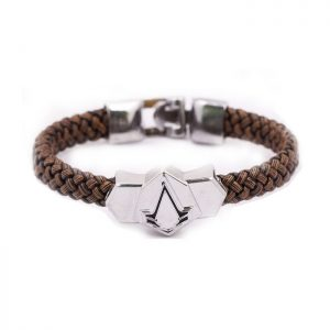 Assassin's Creed PU Woven Leather Bracelet Alloy Wristband