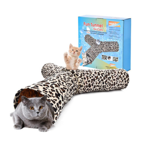 Leopard Print Collapsible Tunnel Cat 3 Ways