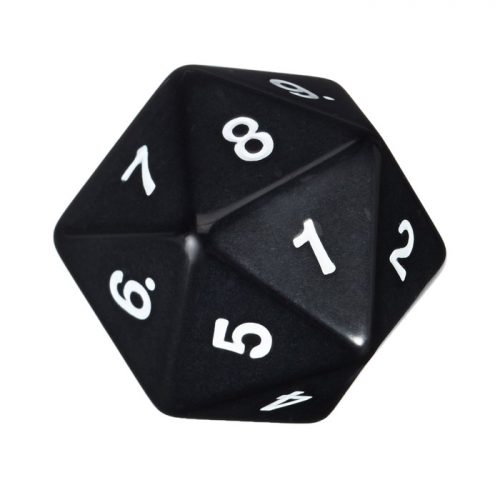 Jumbo D20 Opaque Black with White Numbers 55mm