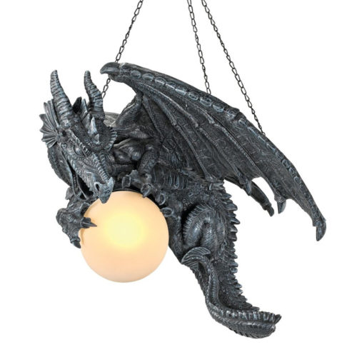 Design Toscano Nights Fury Sculptural Hanging Dragon Lamp