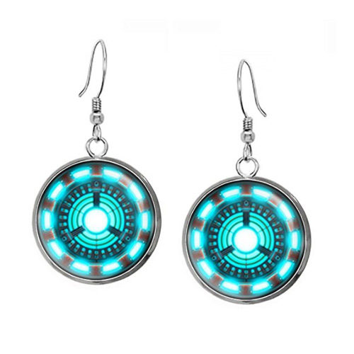 Iron Man Arc Reactor Necklace and Earrings