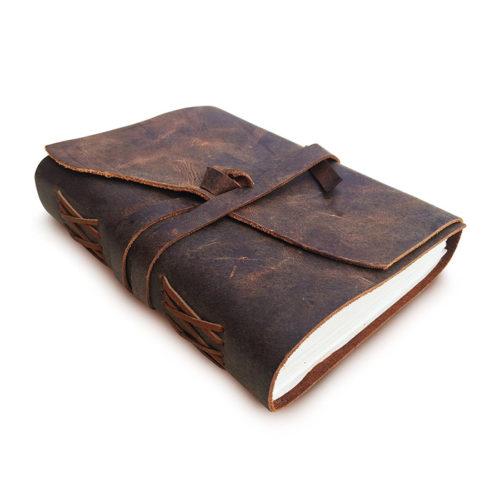 Antique Handmade Leather Bound Journal / Notepad