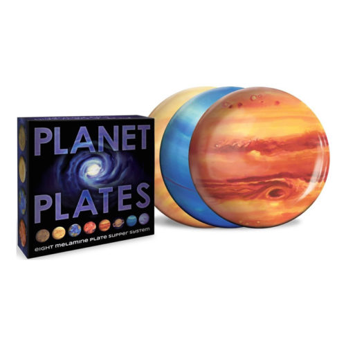 Planet Plates Set - Eight Melamine Astronomy Dinner Plates