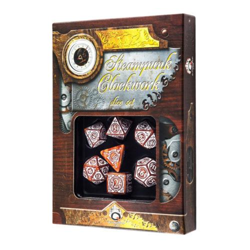 Steampunk Clockwork Caramel & White Dice Set