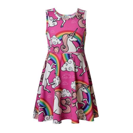 Jxstar Girl's Unicorn Dress - Spring Print