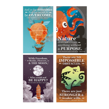 Classroom Posters Inspirational Jules Verne Phrases