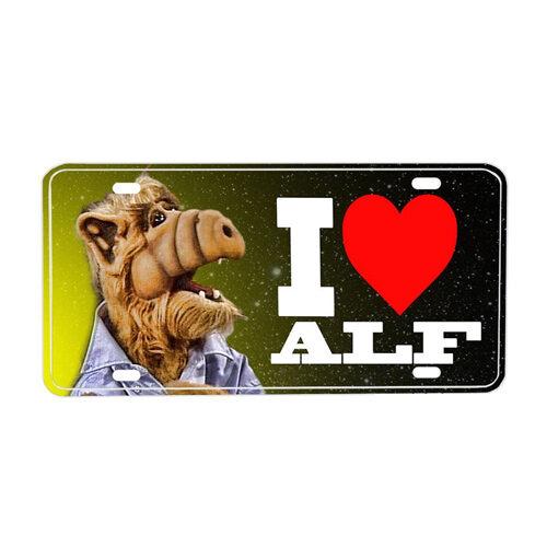 """I Love Alf"" Space License Plate in Aluminium"