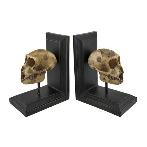 Resin Mounted Neanderthal Skull Bookend by Zeckos