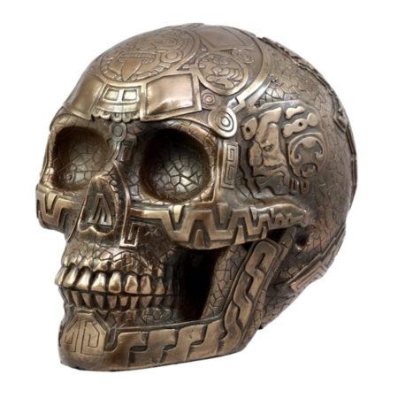 Ancient Aztec Nahuatl Codices Bronzite Skull by Ebros