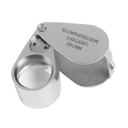 Full Metal Illuminated Jewelry Loop Magnifier 30X
