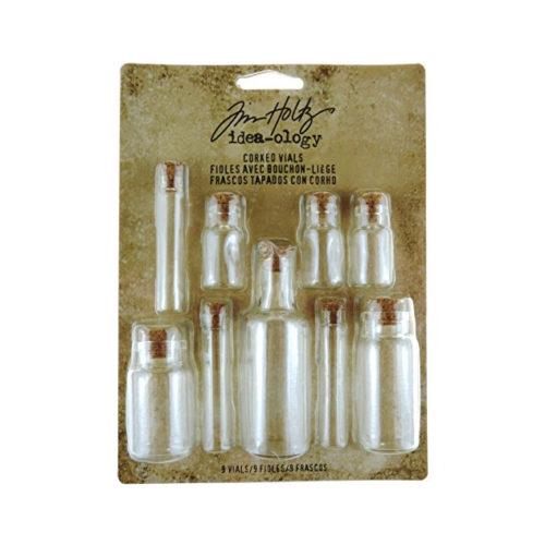 9 Corked Vials Glass Bottles for RPG/LARP by Tim Holtz