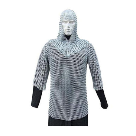 Medieval Armor Set with Chainmail Shirt and Coif