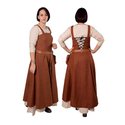 VIking / Medieval Dress Apron Overdress with Laced Back