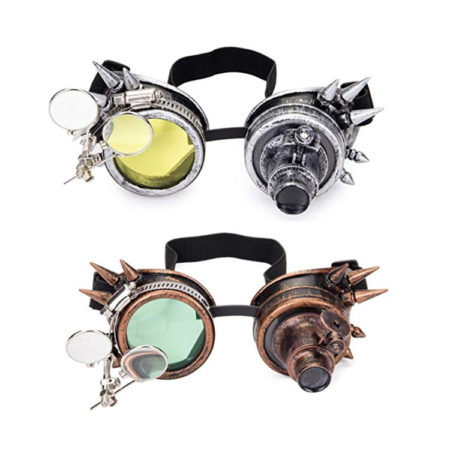 Steampunk Goggles with Spikes and Double Ocular Loupe