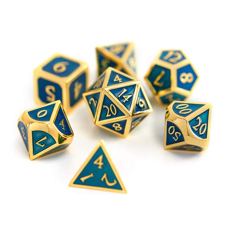 Suburban Sphinx Metal Dice Set Blue/Gold Insert