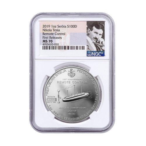 Nikola Tesla Remote Control Silver Coin 100 Dinara 2019