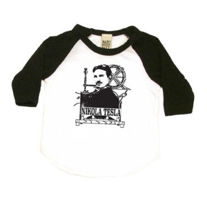 Nikola Tesla Baby T-Shirt in White and Black