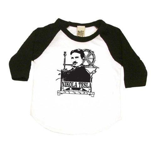 Nikola Tesla Baby T-Shirt in White and Black