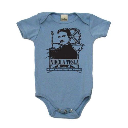 Nikola Tesla Baby Onesie Bodysuit T-Shirt Blue