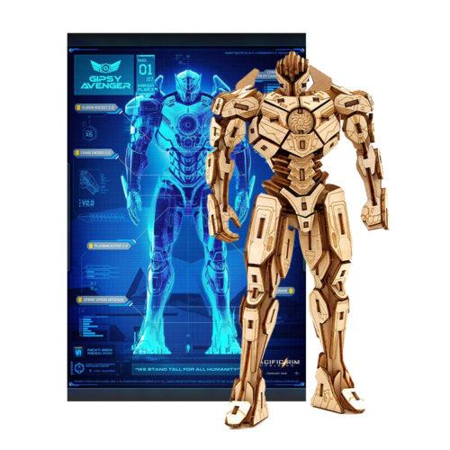 Pacific Rim Gipsy Avenger Poster and 3D Wood Model Figure Kit