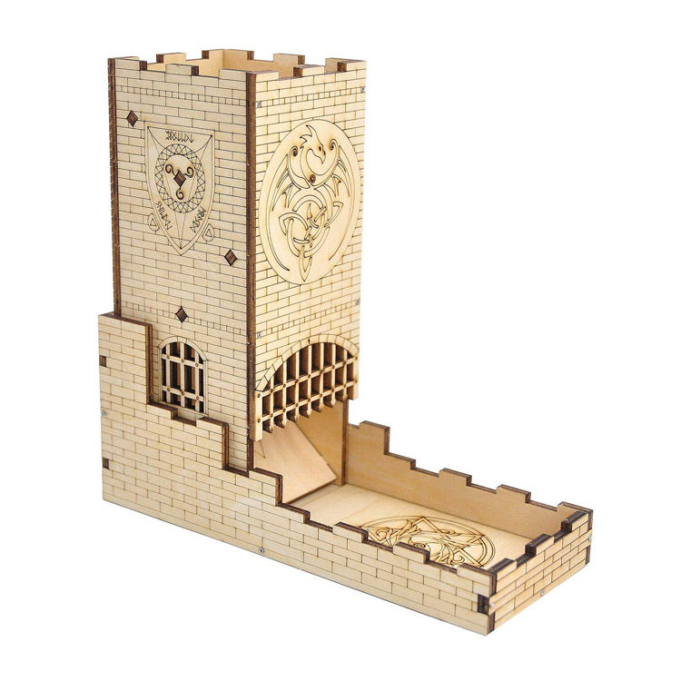 Dice Tower Castle with Dragon Carving for D&D and RPG