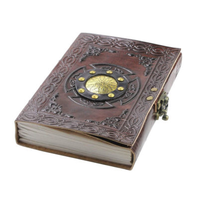 Leather Grimoire Spell Book Journal with Lock