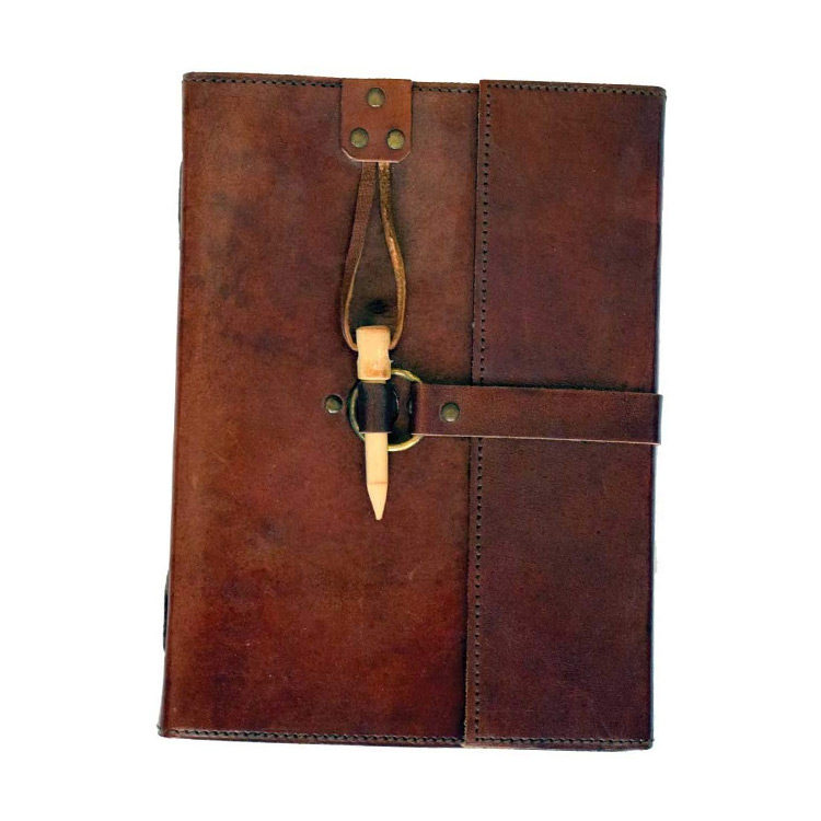 Leather Journal with Wooden Peg Closure