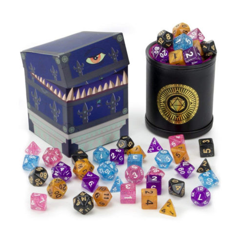 5 Complete Sets of 7 Glitter Polyhedral RPG Dice